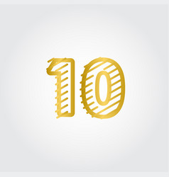 10 years anniversary gold line design logo vector