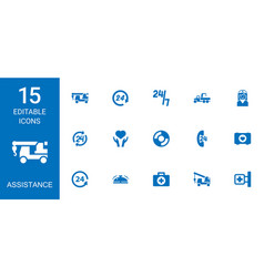 15 assistance icons vector
