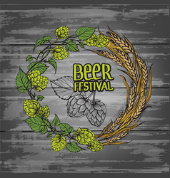 A wreath of ears of wheat and hops vector