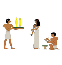 Ancient egypt noblewoman and servant with vector