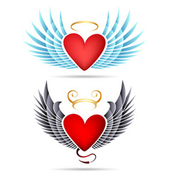 Angel and demon winged heart emblems vector