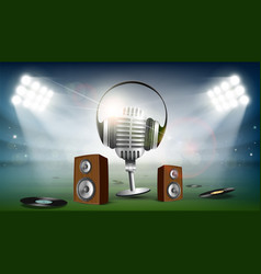 audio speakers and a microphone with headphones vector image