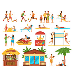 Beach activities decorative icons set vector