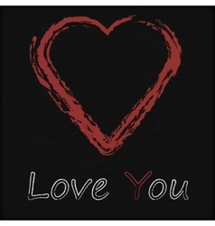 Blackboard with Love Heart vector image