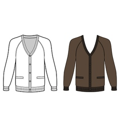 Blank long sleeve raglan cardigan outlined templat vector image