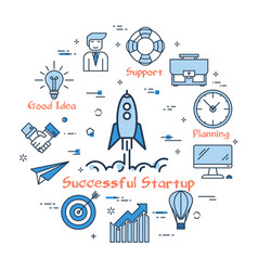 blue round successful startup concept vector image