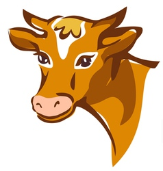 Bright brown smiling cow portrait vector