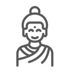 buddha line icon meditation and buddhism vector image