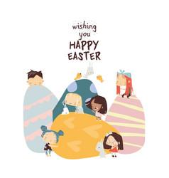 cartoon easter with little children vector image