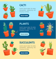 cartoon funny cactus characters banner horizontal vector image
