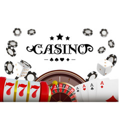 casino background roulette wheel with playing vector image