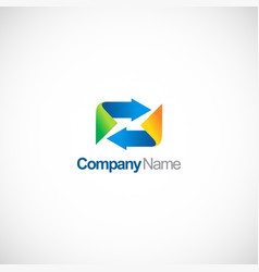 circle arrow business logo vector image