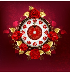 Clock with Red Roses vector image