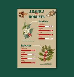Coffee arabica vs robusta roast beans type vector