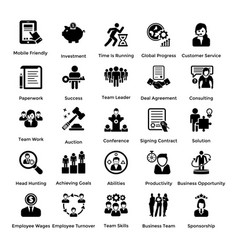 Collection business and management glyph icons vector