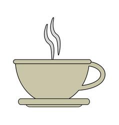 Color image cartoon crockery cup of coffee with vector