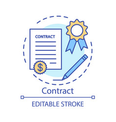 Contract concept icon legal agreement idea thin vector