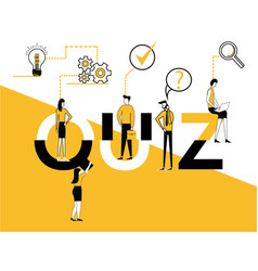 creative word concept quiz and people doing vector image