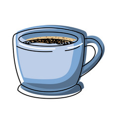 Cup of coffee with handle colorful watercolor vector