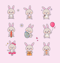 cute bunny kawaii character sticker set vector image