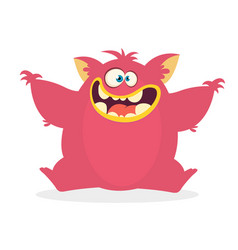 cute cartoon monster waving hands vector image