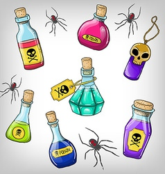 cute hand drawn bottles with poison for Halloween vector image