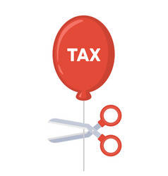 cutting tax balloon string with scissors vector image