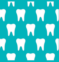 dental seamless pattern white teeth on blue vector image