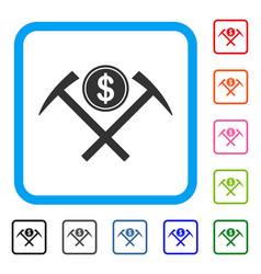 Dollar mining hammers framed icon vector