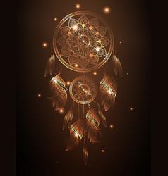 Dreamcatcher in golden gradient vector