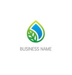droplet ecology organic bio logo vector image