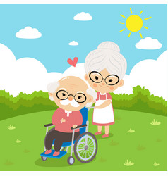 Elderly couple take care sitting on wheelchair vector