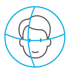 face id thin line icon face recognition and face vector image