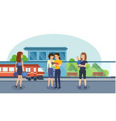 Families with children and luggage on station vector