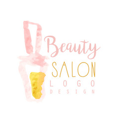 Feminine beauty salon logo design label with vector