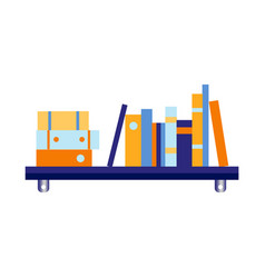 Flat blue wall bookshelf with documents vector