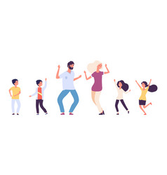 flat dancing people happy kids and adults dancers vector image