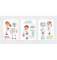 Flat scientific research posters vector