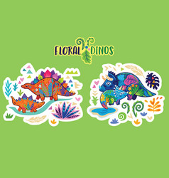 Floral dinosaurs bright sticker set vector