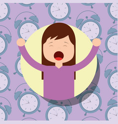 Girl in pajamas yawning and stretching clocks vector