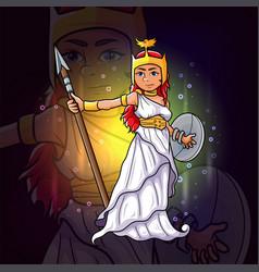 Goddess of athena for esport mascot design vector