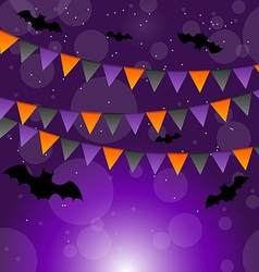 Halloween background with hanging flags vector