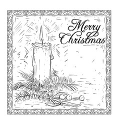 Hand drawing christmas candle card design vector