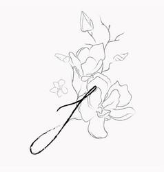 handwritten line drawing floral logo monogram i vector image