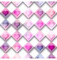 Hearts on checkered background vector