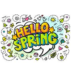Hello spring word bubble vector