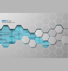 Hexagons and binary code blue vector