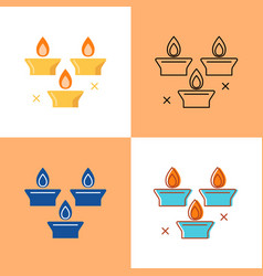 holiday candles icon set in flat and line style vector image