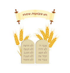Holiday of shavuot tablets of stone and wheat vector