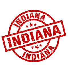 Indiana red round grunge stamp vector
